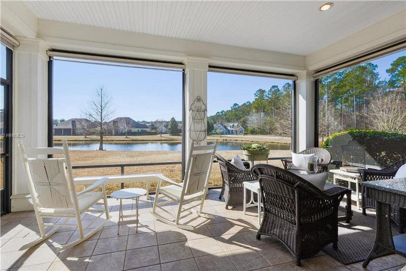 Screened porch with lagoon views