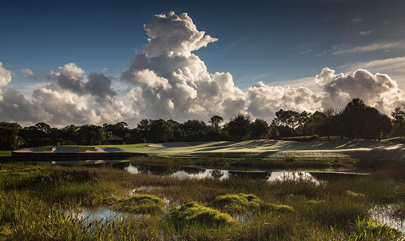 The fabulous 8th hole of the Gold Course under an amazing South Florida sky.