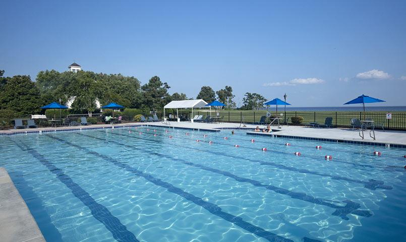 Overlooking the Albemarle Sound, the community's pool and fitness center includes a 25-meter junior Olympic-sized pool.