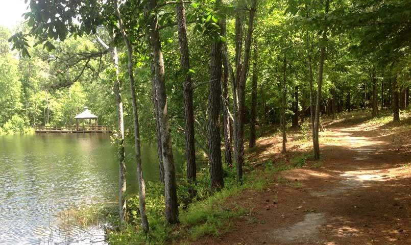 The Nature Trail winds through woods and around ponds, finishing at the Picnic Pavilion, ideal for family and community gatherings.