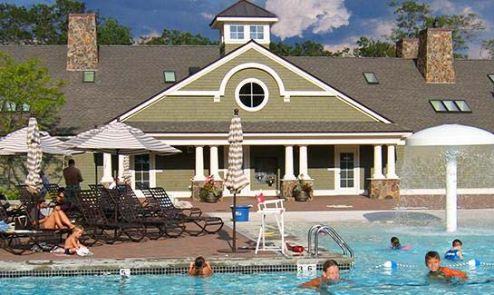 The pool complex  at Bay Club at Mattapoisett
