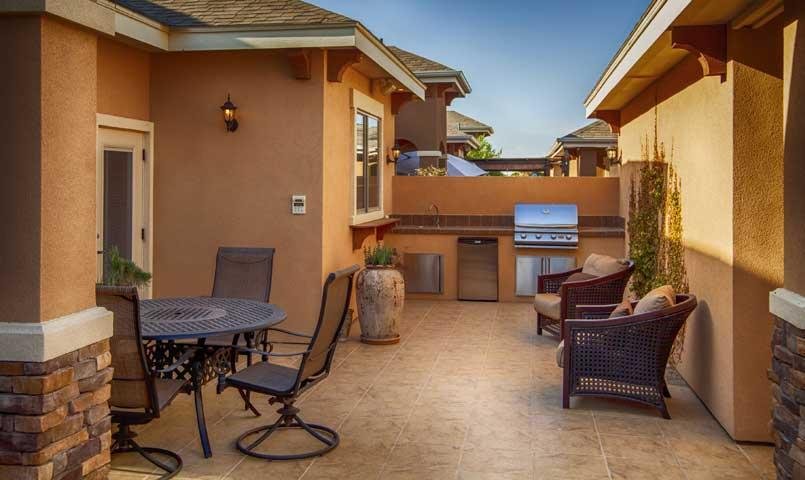 Outdoor entertainment area of home for sale at Bentsen Palm community in Mission, TX