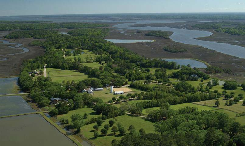 An aerial view of Brays Island Plantation.