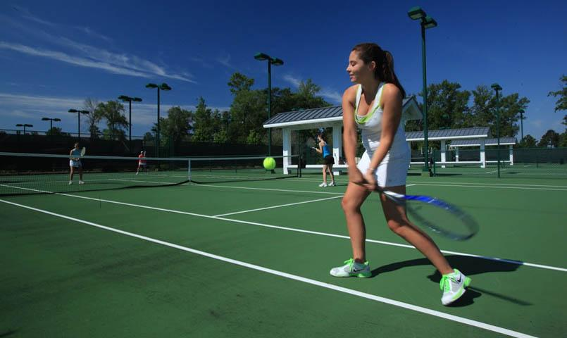 Five hard surface tennis courts and one sport court are centrally located at the community's Fitness & Wellness Center.