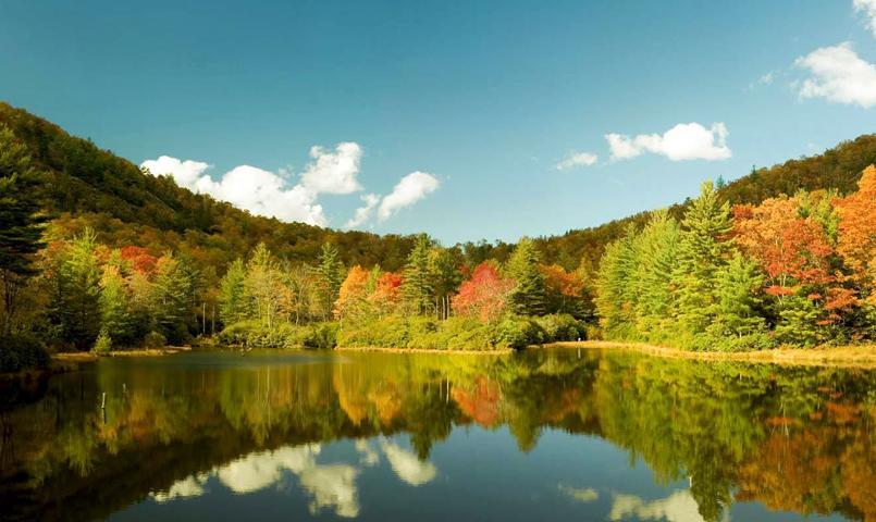 Fall foliage surrounding the lake at Chinquapin