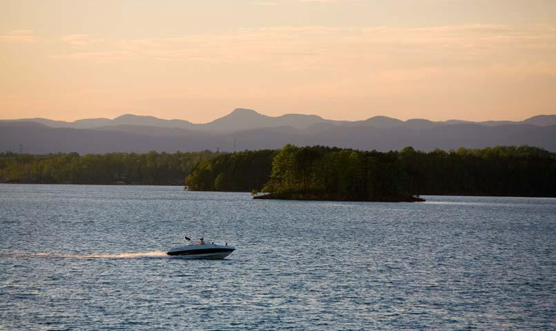 Lake Keowee offers prime bass fishing for anglers of all levels and professional guides are available.
