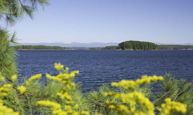 Views of the Blue Ridge Mountains surround the 18,500-acre Lake Keowee.