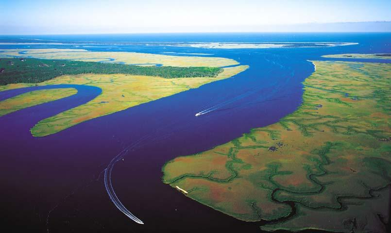 Aerial view of the Intracoastal Waterway at Cumberland Harbour, St. Marys, Georgia
