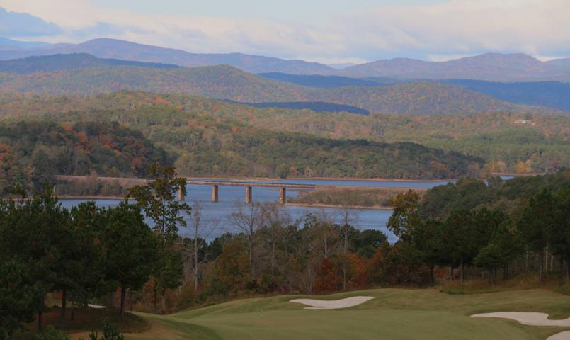 View of golf course, lake, and mountains at Currahee Club