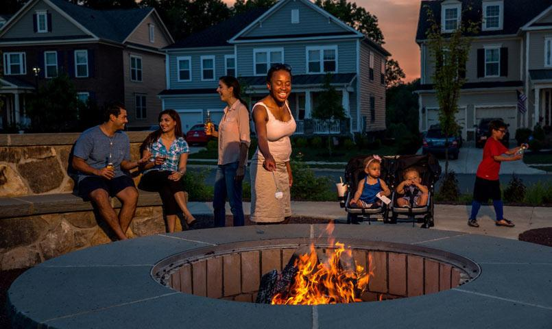 Community firepit at Embrey Mill