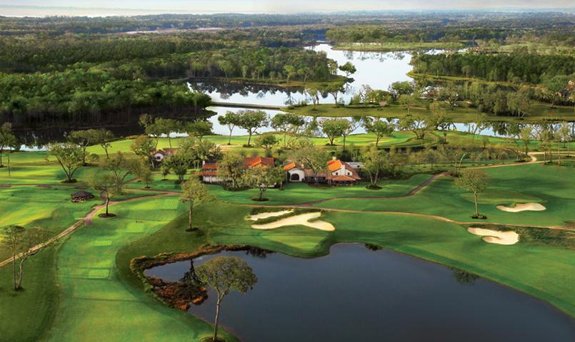 Aerial view of Frederica's clubhouse and Tom Fazio designed golf course