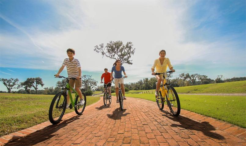 Residents explore the community on miles of paved biking trails.