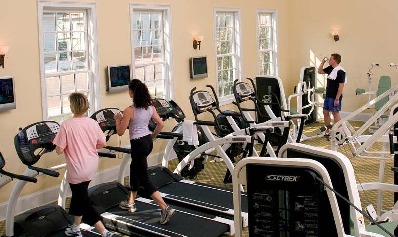 State-of-the-art Fitness Center including aerobics facilities, weight training/ cardiovascular workout room, and locker rooms with steam and sauna areas.