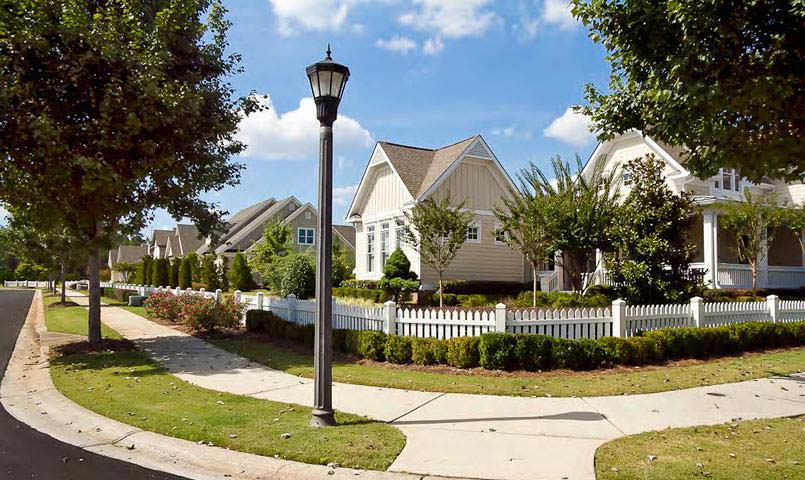 Southern porches overlook the beautifully designed and landscaped streets, parks and playgrounds throughout the neighborhood.
