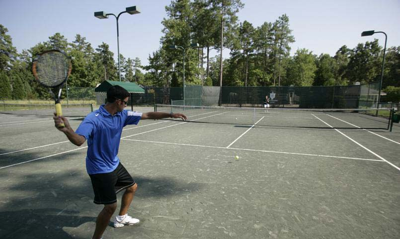 Tennis facility includes 6 lighted hydro clay courts plus 2 hard courts