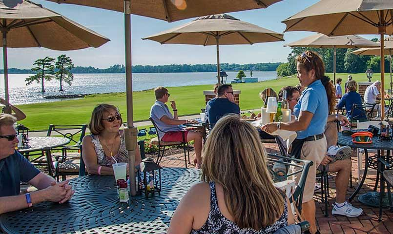 Private waterfront dining at the Two Rivers clubhouse