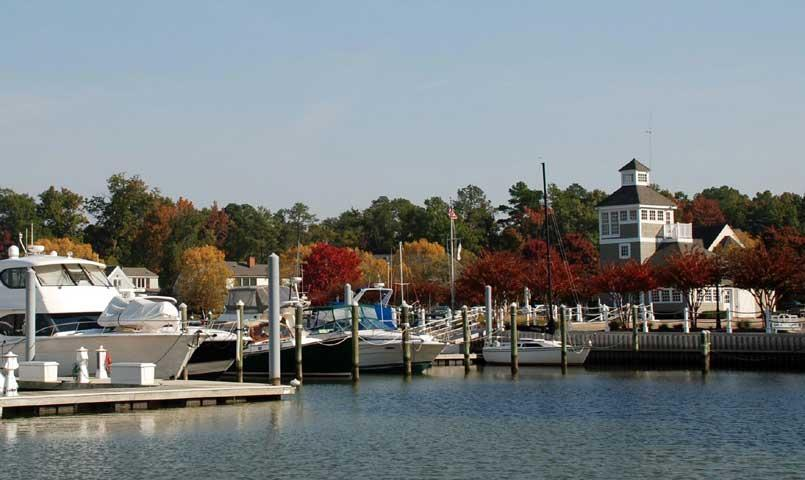 A protected deep water Marina with 100 slips accommodates boats up to 55 feet.