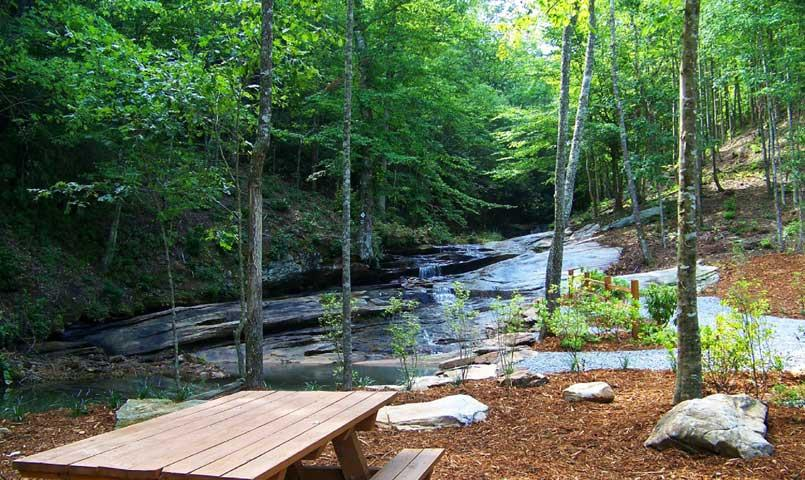 View of the community's waterfall picnic area.