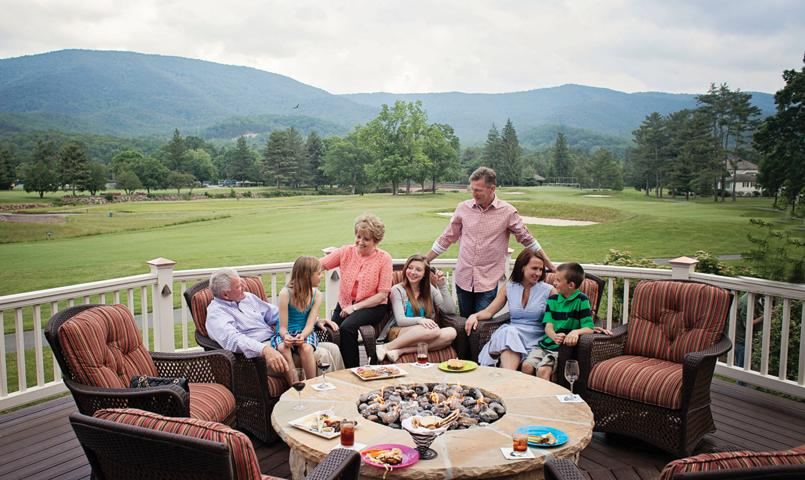 The social hub of The Sporting Club, the Members' Lodge overlooks the 18th green on The Snead golf course and is reserved exclusively for members of The Greenbrier Sporting Club