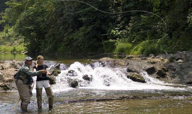 Howard's Creek is the perfect venue for fly fishing; Sporting Club members enjoy private access to three miles of this trout-stocked stream.