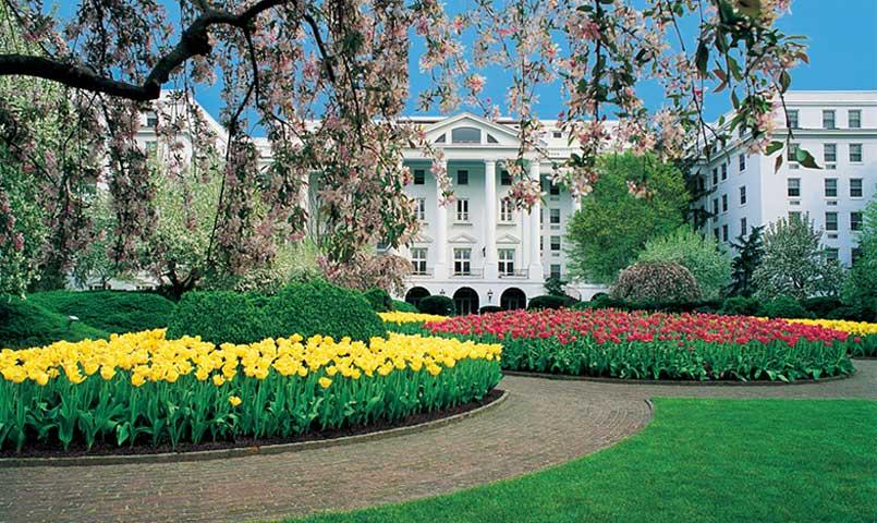 View of the Greenbrier Resort during springtime