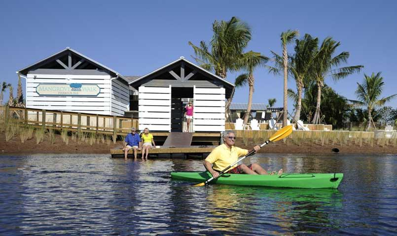 Kayakers enjoy beautiful views of Anna Maria Sound from Harbour Isle.
