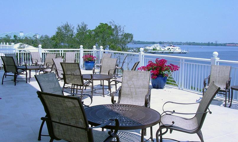 View of the center docks and the 1.5-mile wide St. Lucie River as seen from the Harbour Ridge Clubhouse Terrace