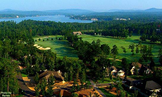 Aerial view of the Magellan Golf Course, consistently rated one of the top three courses to play in Hot Springs Village.