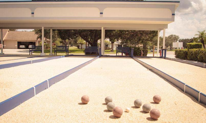 Residents enjoy bocce and shuffleboard courts.