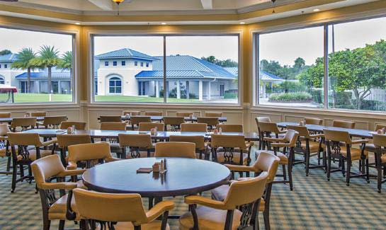 The 19th-Hole lounge at Indian River Colony Club where residents enjoy a drink, hors d'oeuvres, and friendship