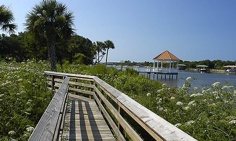 Docks, gazebos, and walking trail.