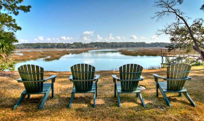Chairs overlooking tidal marshes at Islands of Beaufort
