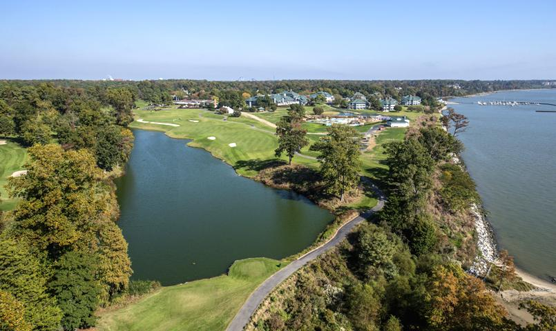 Aerial view of Kingsmill on the James in Williamsburg, VA