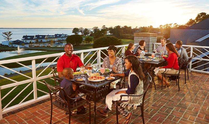Club dining on outdoor patio at Kingsmill on the James in Williamsburg, VA