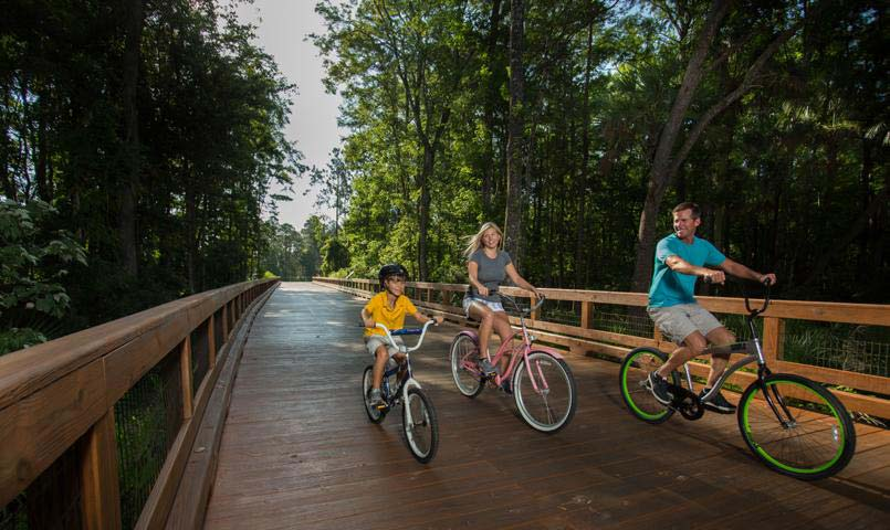 Family biking on wooden trail system.
