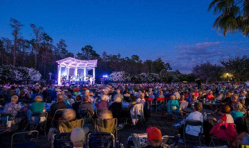 An outdoor amphitheatre hosts concerts and special events
