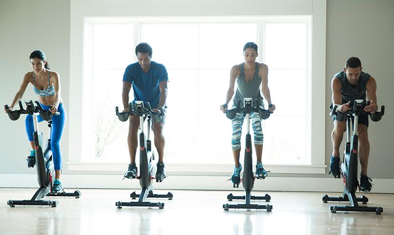 Light-filled workout studios offer a unique cycling experience at the Shores Club.