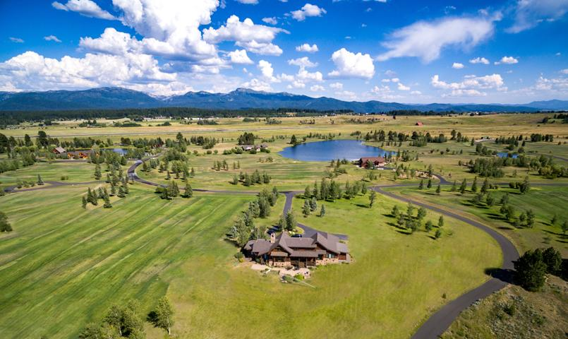 Aerial view of River Ranch in McCall, Idaho