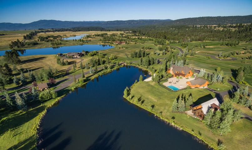 Aerial lake view of River Ranch in McCall, Idaho