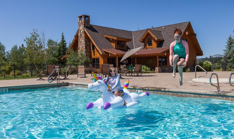 Clubhouse and swimming pool at River Ranch in McCall, Idaho
