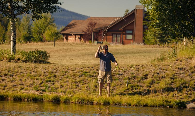 Resident fishing on the Payette River at River Ranch in McCall, Idaho