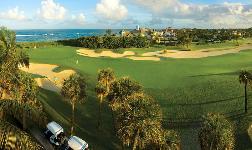 "The 18th hole at Sailfish Point, referred to as the ""Window of the Sea,"" offers a remarkable ocean view."