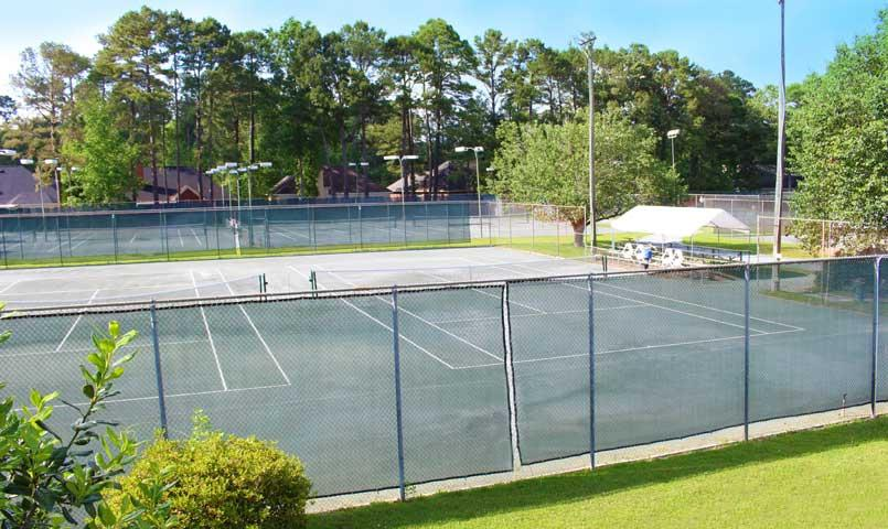 The Southbridge Racquet Club includes 12 clay courts (9 courts lighted) along with 2 hard courts and a clubhouse with pro shop and locker rooms.