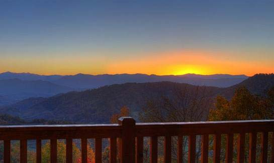 Sunset view from resident porch at Sunset Falls at Bald Creek