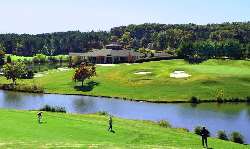 View of golf course and clubhouse at Tellico Village in Loudon, TN