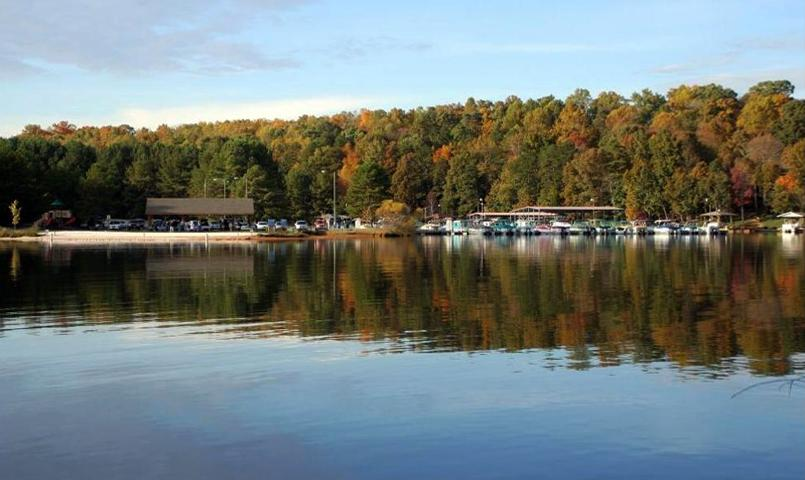 Family park and lakeside beach at Tellico Village in Loudon, TN
