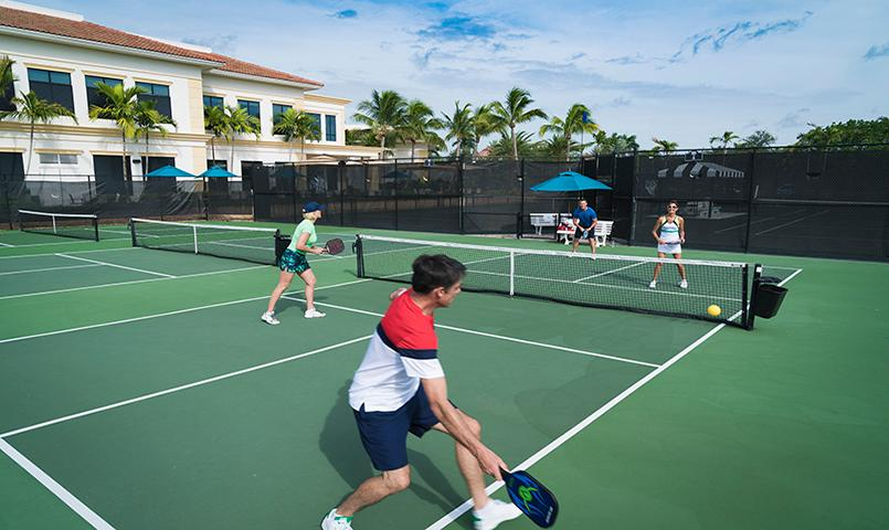 In addition to 16 Har-Tru, fast-drying tennis courts, facilities also include four new Pickleball courts.