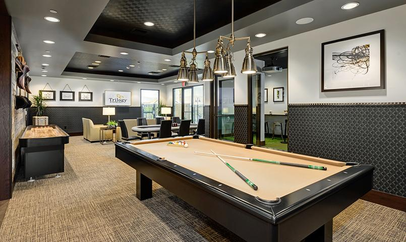 Billiards at The Paddock, a sports escape in the club, with darts, flat screen TV, and a golf simulator too