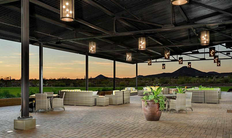 The Mita Club's expansive patio at Trilogy at Vistancia