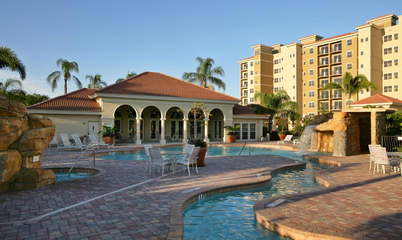 View of the Vista Pointe condos' swimming pool and clubhouse at the Vineyards